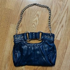 Dark Blue Leather Purse With Metal Link Strap
